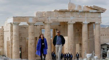 US President Barack Obama tours Acropolis with Dr. Eleni Banou, Director, Ephorate of Antiquities for Athens, Ministry of Culture, in Athens, Wednesday, Nov. 16, 2016. (AP Photo/Pablo Martinez Monsivais)